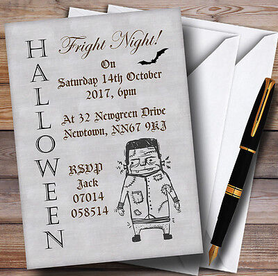 Zombie Fright Night Personalised Halloween Party Invitations
