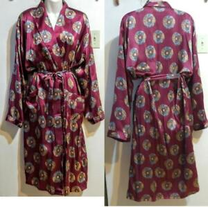 NEW Ladies 100% Silk Robe Intimate Dressing Gown Light Sexy Maroon Asian Print