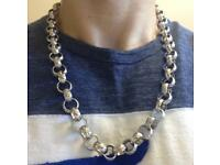 9ct White Gold Belcher Chain, 148g, 24""