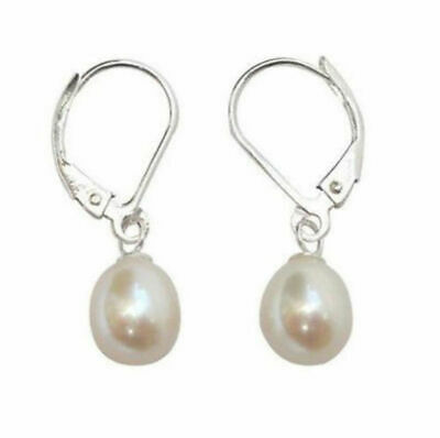 8-9mm White Akoya Cultured Pearl Sterling Leverback Drop Earrings