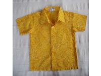 SHIRT: NEW yellow Sari Amerta Batik Bali short sleeve, collared, shirt. Age 2. Great for summer!