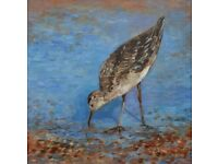 Original painting titled 'A Bird on the Beach (South Downs)' by Edita Tamulyte 2015