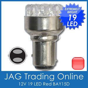 12V-19-LED-BAY15D-RED-1157-STOP-TAIL-AUTOMOTIVE-GLOBE-Car-Auto-Caravan-RV-Bulb