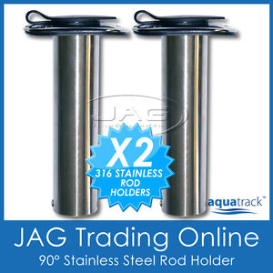 2-x-316-MARINE-GRADE-STAINLESS-STEEL-90-STRAIGHT-BOAT-FISHING-ROD-HOLDERS-CAPS