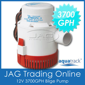 12V-AQUATRACK-H-DUTY-3700GPH-SUBMERSIBLE-BILGE-WATER-PUMP-Marine-Boat-Caravan