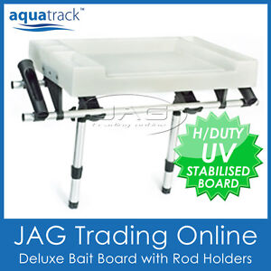 AQUATRACK X-LARGE DELUXE BAIT BOARD & 2 SIDE ROD HOLDERS - Boat/Fishing/Cutting