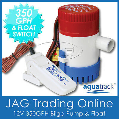 KIT AQUATRACK 350 GPH BILGE PUMP & FLOAT SWITCH - Marine/Boat/Water/Submersible 350 Gph Pump Kit