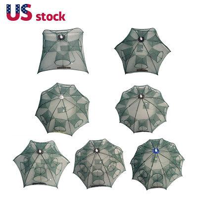 - Automatic Folding Catch Fish Shrimp Crab Trap Cast Fishing Net 4/6/8/12/16 Holes