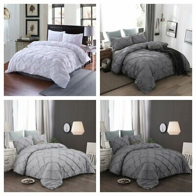 Pinch Pleat Pintuck Gray Duvet Cover Pillowcases Bedding Set Queen King Size US Grey Duvet Set
