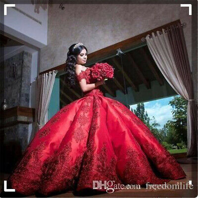 Red Quinceanera Dress For Girls Off Shoulder Appliques Long Sweet 16 Prom Gown](Sweet Dresses For Girls)