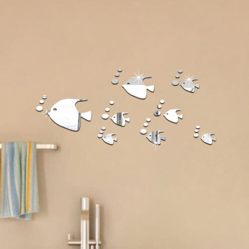 Home Decoration - 3D Fish Wall Stickers Mirror Decal Fish Home Bathroom Decor Removable DIY