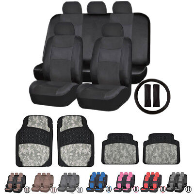 Premium Leather Leatherette Seat Covers & Digital Camo Rubber Mats for Toyota