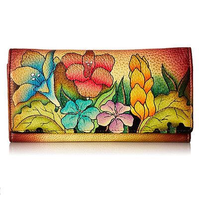 Anuschka Leather Anna Ladies Wallet Multi Pocket Mediterranean Garden