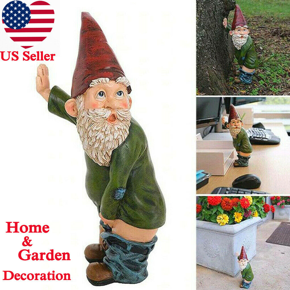 Naughty Garden Gnome for Lawn Ornaments Funny Dwarfs Indoor Outdoor Decor 5.1in