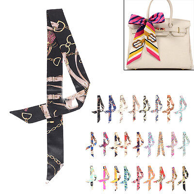 (Fashion Ladies' Stylish Twilly Ribbon Bag Tied Handle Small Ribbon Scarf)