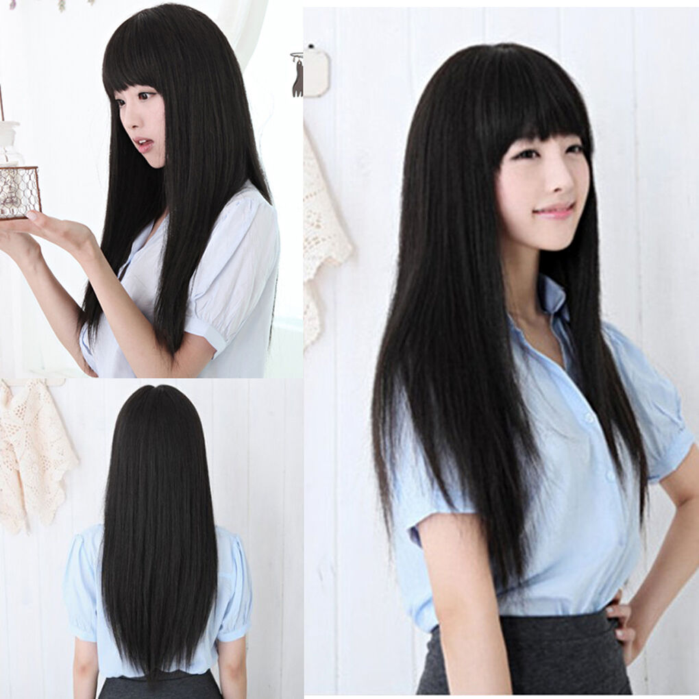New Black Long Straight Neat bang Hair Cosplay Party Women s Full ... 2ab135e9a