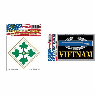 "U.S Army Infantry Sticker 4th Division 3-1//4/"" Combat Vietnam 2-3//4/""X4/"" Kit"