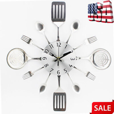 Modern Cutlery Retro Wall Clock Fork Spoon Kitchen Utensil Hanging Home Decor ()