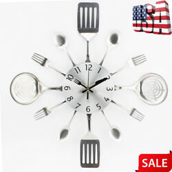 Modern Cutlery Retro Wall Clock Fork Spoon Kitchen Utensil Hanging Home Decor