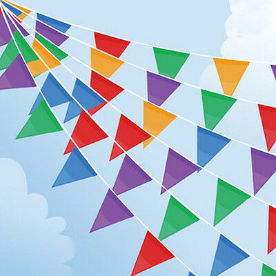Rainbow Party Banner (10M Banner Bunting Pennant Flags Party Supply Wedding Rainbow Decor Flag)
