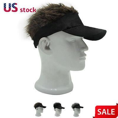 Men Funny Flair Hair Visor Casquette Adjustable Hat Golf Sport Wig Cap - Hair Visors