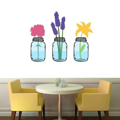 Mason Jar With Flowers Printed Wall Decal - Farmhouse, Kitchen, Dining, Flowers](Mason Jar With Flowers)