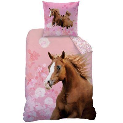 Horse Floral Pferde Bettwäsche Set rosa 135x200cm 80x80cm Blumen Mädchen NEU