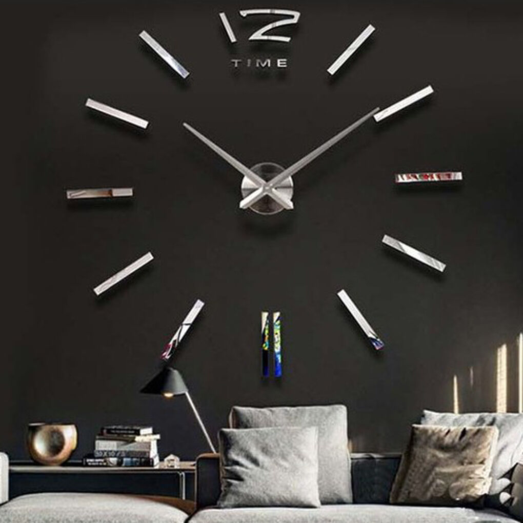 home decor large mirror sticker wall clock modern design 3d diy product gallery