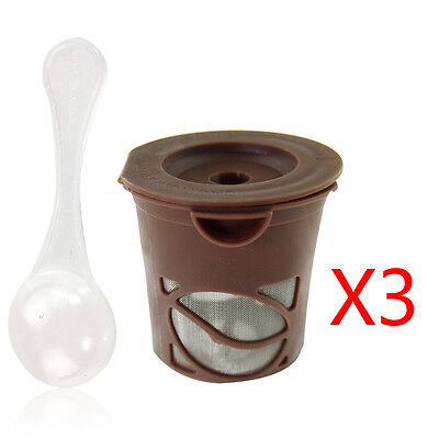 3Pcs Coffee Refillable Filters Tea Pods K-Cups Stainless Mesh  Filter