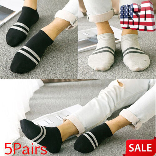 5Pairs Cotton Men Casual Short Ankle Low Cut Invisible Socks