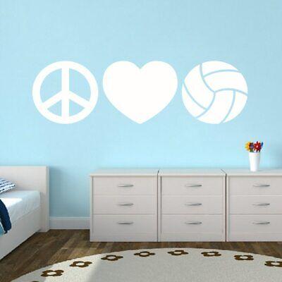 Peace Love Volleyball Wall Decal - Sports, Bedroom, Gym, Locker Room, Vinyl (Locker Room Bedroom)