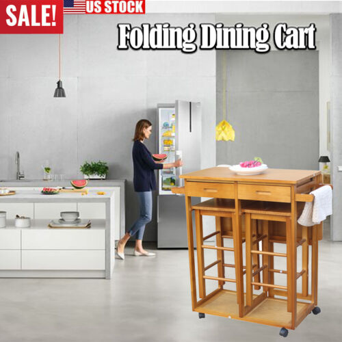 Folding Dining Cart Kitchen Island Cart with 2 Tools Storage