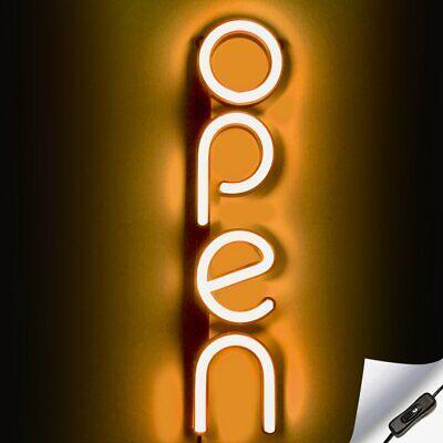 Vertical Led Neon Open Sign For Business - Orange