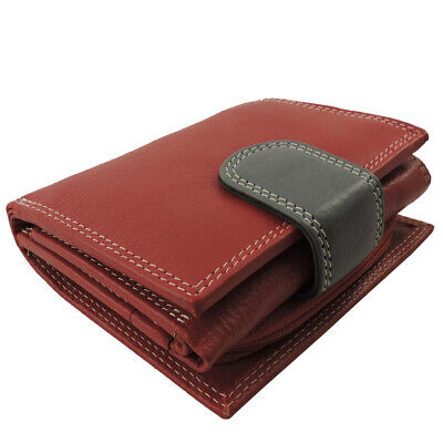 Leather French Purse Id Wallet (Genuine Leather RFID Ladies French Bi Fold Wallet - Burgundy ID, CC, Coin Purse )