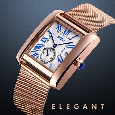 Men's Exquisite Analog Square Quartz Wrist Watch Stainless Steel Band Waterproof