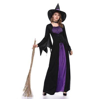 Böse Hexe Damen Langärmelig Halloween Kostüm Sexy Märchen Kleid (Böse Hexe Sexy Kostüm)