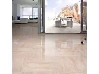 POLISHED CREAM MARBLE EFFECT PORCELAIN TILES 450x900mmxes (Sold per Sqm2)