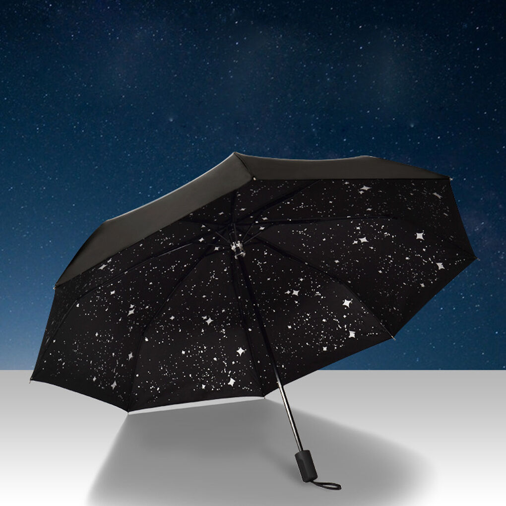 1ae3468d0ee5 Details about 3 Folding Starry Sky Parasols 50+ Anti UV Sun Rain Protection  Windproof Umbrella