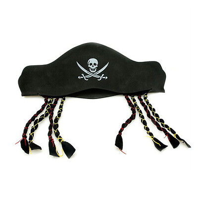 1Pc Lovely Pirate Captain Hat Cap With Braids  Halloween Costume Party Supplies - Captain Hat Halloween
