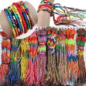 10x Handmade Thread Woven Friendship Cords Hippie Anklet Braid Bracelet Colorful