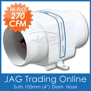 12V-270CFM-IN-LINE-BOAT-BILGE-AIR-BLOWER-SUIT-4-HOSE-Boat-Marine-Caravan-Inline