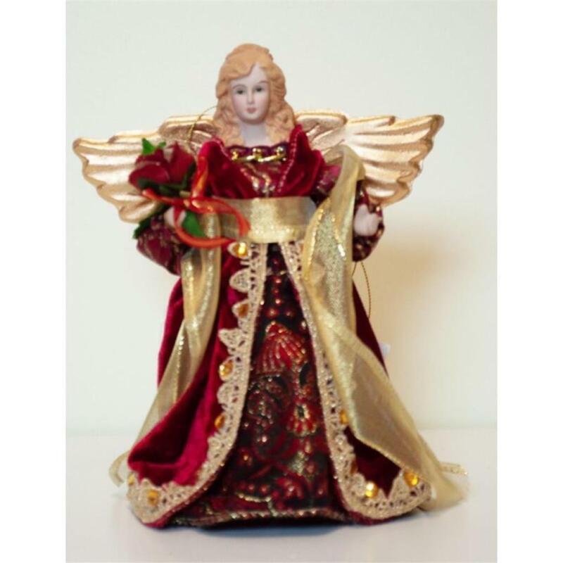 "Season Designs 8"" Red Angel Small Christmas Tree Topper"
