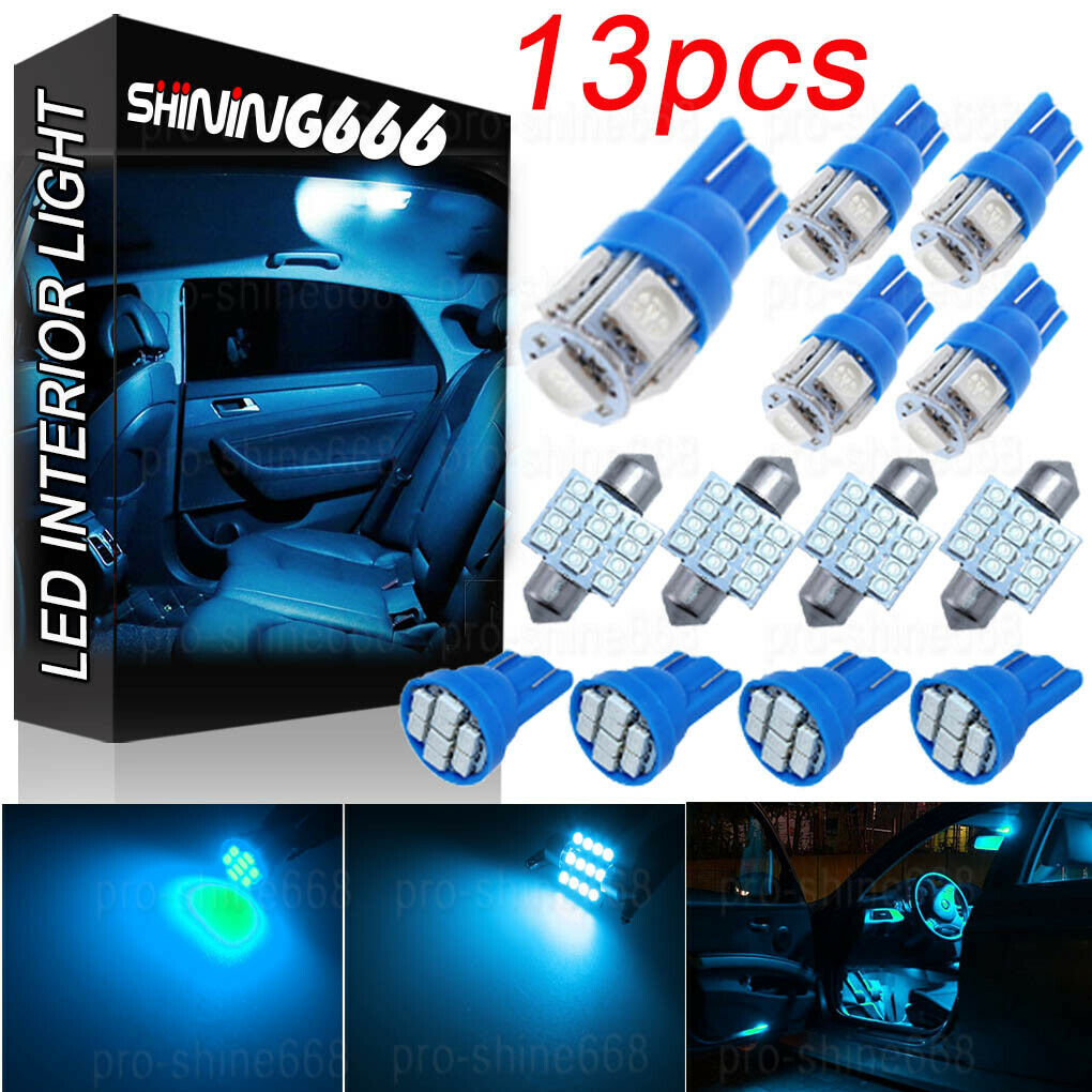 13Pcs LED Light Interior Package Kit Pure Blue For Dome License Plate Lamp Bulb#