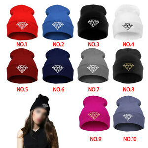 Women-Men-039-s-DIAMOND-Winter-Hip-Hop-Cap-Beanies-Cotton-Knit-Wool-Hats-Caps