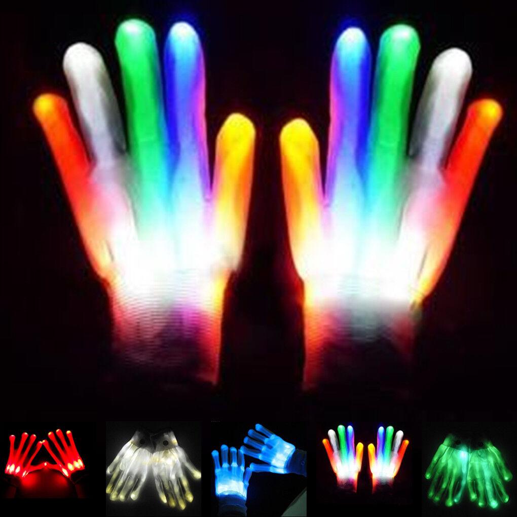 LED Rave Flashing Glove Glow 7 Mode Light Up Finger Tip Lighting