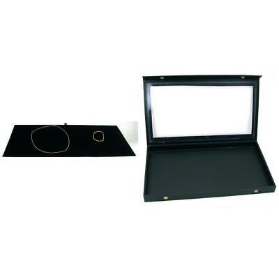 Jewelry Display Tray Case Box Black Velvet Necklace Chain Insert Kit 2 Pcs