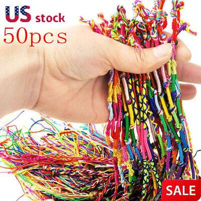 50 PCS Handmade Thread Woven Cords Hippie Anklet Braid Bracelet Cords Bracelet](Woven Bracelet)