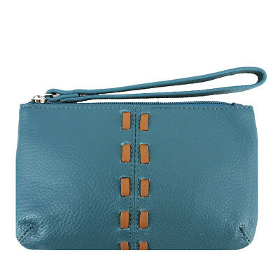 SILVERFEVER Cowhide Leather Wristlet Purse Wallet Whipstitched Detail Turquoise