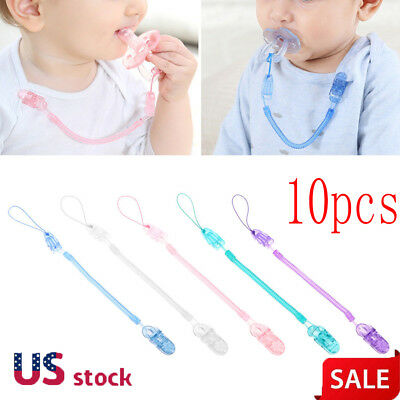 10X Baby Infant Toddler Spring Dummy Pacifier Soother Nipple Clip Chain Strap