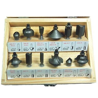 Hawk Tj6422 - Router Bit Set 12 Pc Carbide Mixed 14 Shank Wood - New